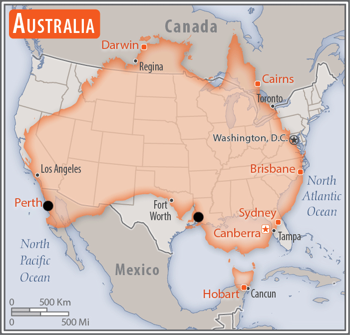 Route Overview - Australia over us map